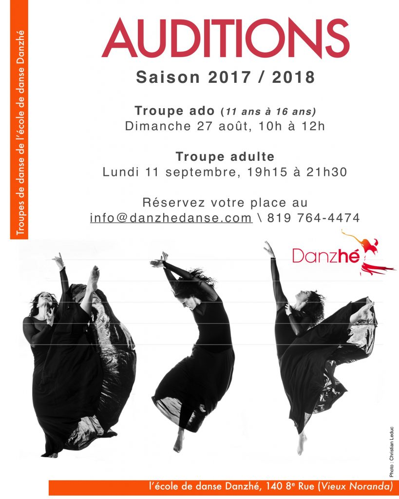 Auditions Troupes Danzhé Saison 2017-2018
